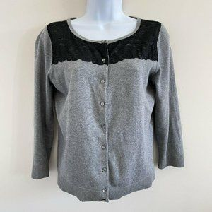 Ann Taylor Loft Grey Cardigan Sweater Black Lace S